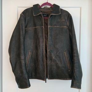 Vintage Genuine worn in leather jacket black river